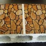ブロックに石垣のテクスチャを印刷したブロックシールを貼り付けた例